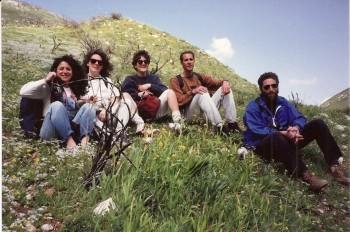 Stopping for a rest during a hike on Mt. Meron
