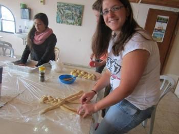 Alana braiding Challah on Friday morning at Livnot