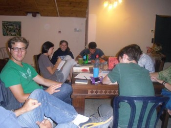 Josh and some Livnoters preparing Words of Wisdom for Shabbat