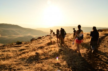 Hiking into the sunset in northern Israel