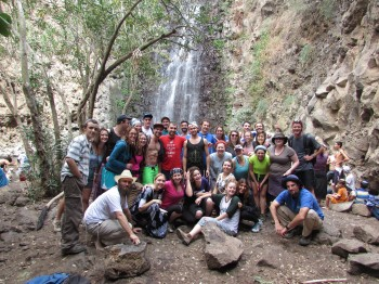Livnot participants on a waterfall hike